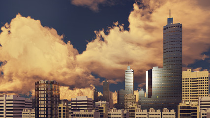 Modern high rise office buildings skyscrapers at abstract city downtown against cloudy sky background at sunset. 3D illustration.