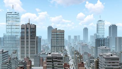 Abstract big city downtown with modern high rise buildings skyscrapers and busy streets at daytime. 3D illustration.