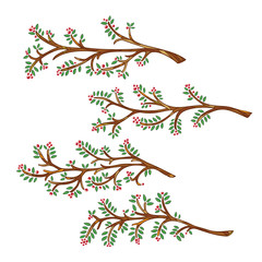 Set of hand-drawn and painted branches with leaves and berries. Vector graphics.