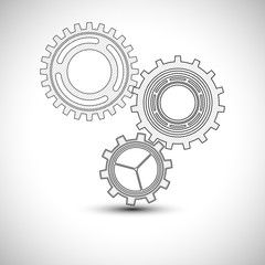 Technical drawing Gears set Icon Vector Illustration. Gears wheels Icon.