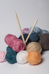 Balls of yarn for knitting with thewooden needles