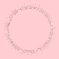 Pink golden glitter made of hearts. Round shape on pale_pink valentine background. Vector illustration.