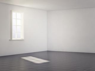 light white room with black floor. 3d render
