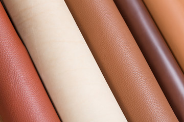 Multicolored rolls of leather.