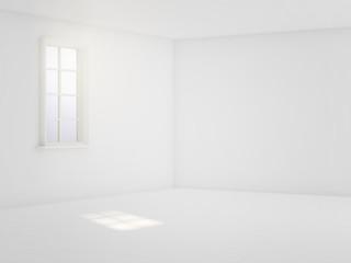 light white empty room. 3d render