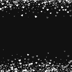 White hearts confetti. Borders on black valentine background. Vector illustration.