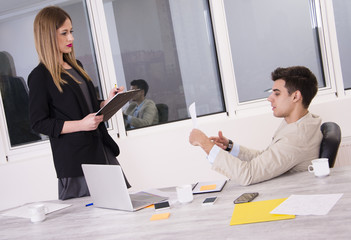 Successful business team working. Man and woman working together. Office job.