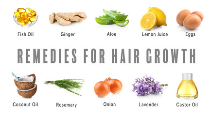 Remedies for hair growth on white background. Beauty concept