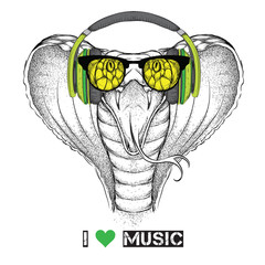 Illustration of snake hipster dressed up in the glasses and headphones. Vector illustration.