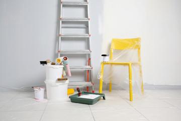 Set of painter tools on floor