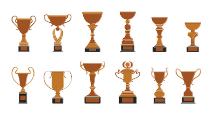 Bronze cups set on white background. Trophies for third place.