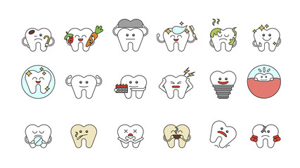Funny teeth set on white background. Concept of dental care. Different cartoon teeth with emotions.