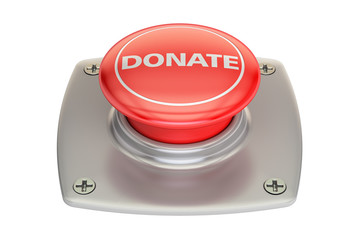 Donate red button, 3D rendering