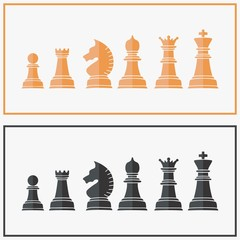 set of chess icon gold and black vector