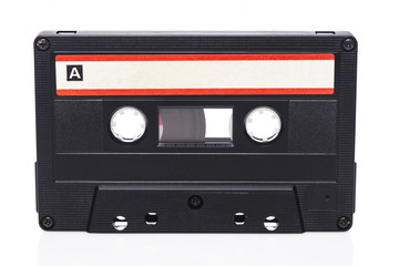 Retro audio cassette isolated on white background