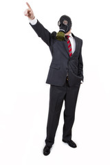 business man with gas mask