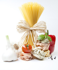 Mediterranean cooking with pasta and ingredients