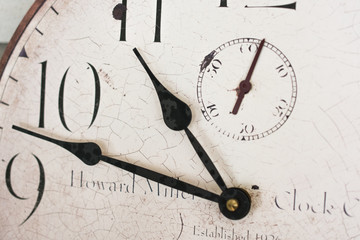 Old Vintage Clock Showing Concept of Time Close Up