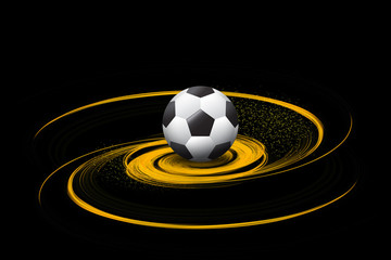 football/soccer ball on fire illustration on black background