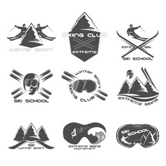 Set Ski logo design template elements