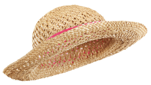 Side view of curved brim straw hat