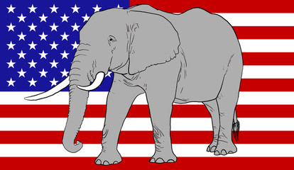 Elephant and American Flag
