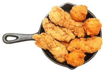 American Battered Chicken Tenders and Hush Puppies in Cast Iron