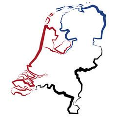 Holandia - mapa konturowa