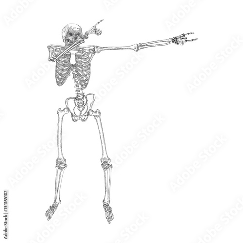 human skeleton posing dab perform dabbing dance move gesture