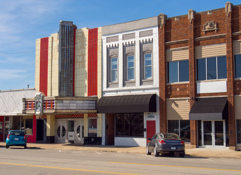 Old fashioned vintage theater in small town main street USA