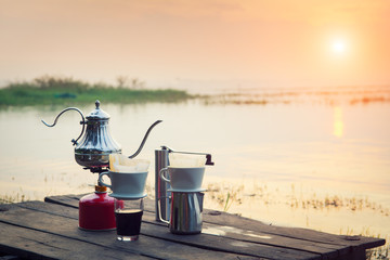 Coffee percolator on a campfire at morning close-up