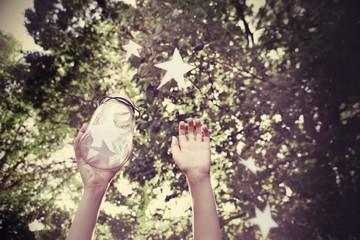 Catching wishes. Focus on Jar, Instagram effect.