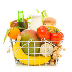Shopping Basket With Groceries, Side View