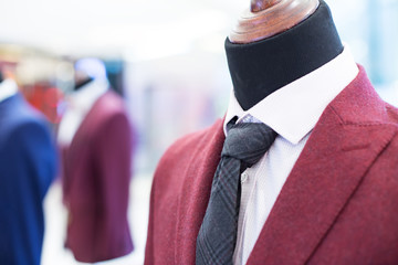 businessman suit on model in shopping mall