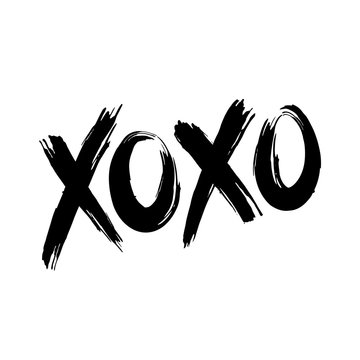 Phrase XOXO hugs and kisses black brush lettering on a white background. Slogan can be used as design element for postcard or print. Vector.