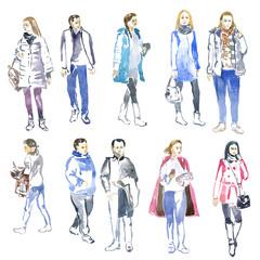 watercolor sketch of people