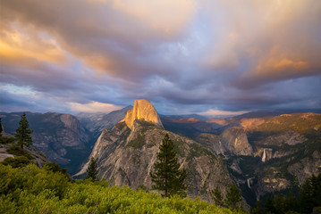 Half Dome Rock Yosemite National Park at Sunset.  Trees in the foreground.  Golden yellow sky and clouds.