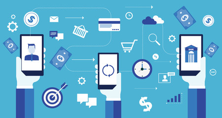 mobile connection and business online payment  and  mobile banking