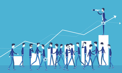 business vision concept and business man standing on graph growth with group people business concept