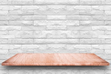 Wood table and white concrete wall background / Vintage wall of gray and desk