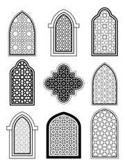 Arabic or Islamic traditional architecture, set of window