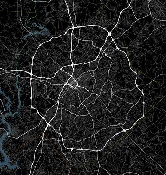 Black and white map of Charlotte city. North Carolina Roads