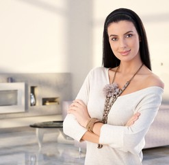 Attractive young woman at modern home