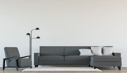 Modern living room interior with Black and white 3d rendering Image.There are minimalist style ,white empty wall and dark grey furniture