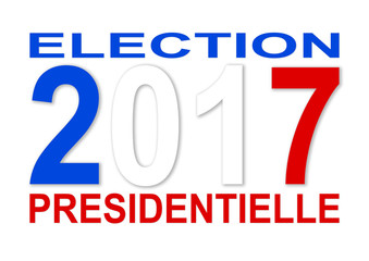 Presidential elections 2017 in French with blue with and red col