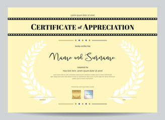Certificate of appreciation template with movie film stripe header