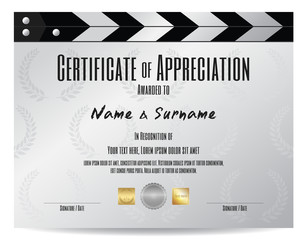 Certificate of appreciation with movie film slate in silver tone