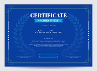 Certificate of achievement template with award laurel on blue background