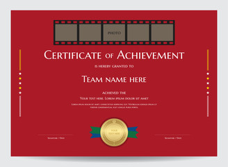 Certificate of achievement template with photo space in movie film header