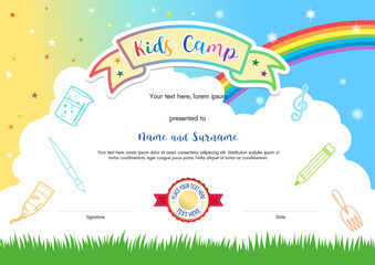 Colorful kids summer camp diploma certificate template in cartoon style with rainbow and cloud sky background